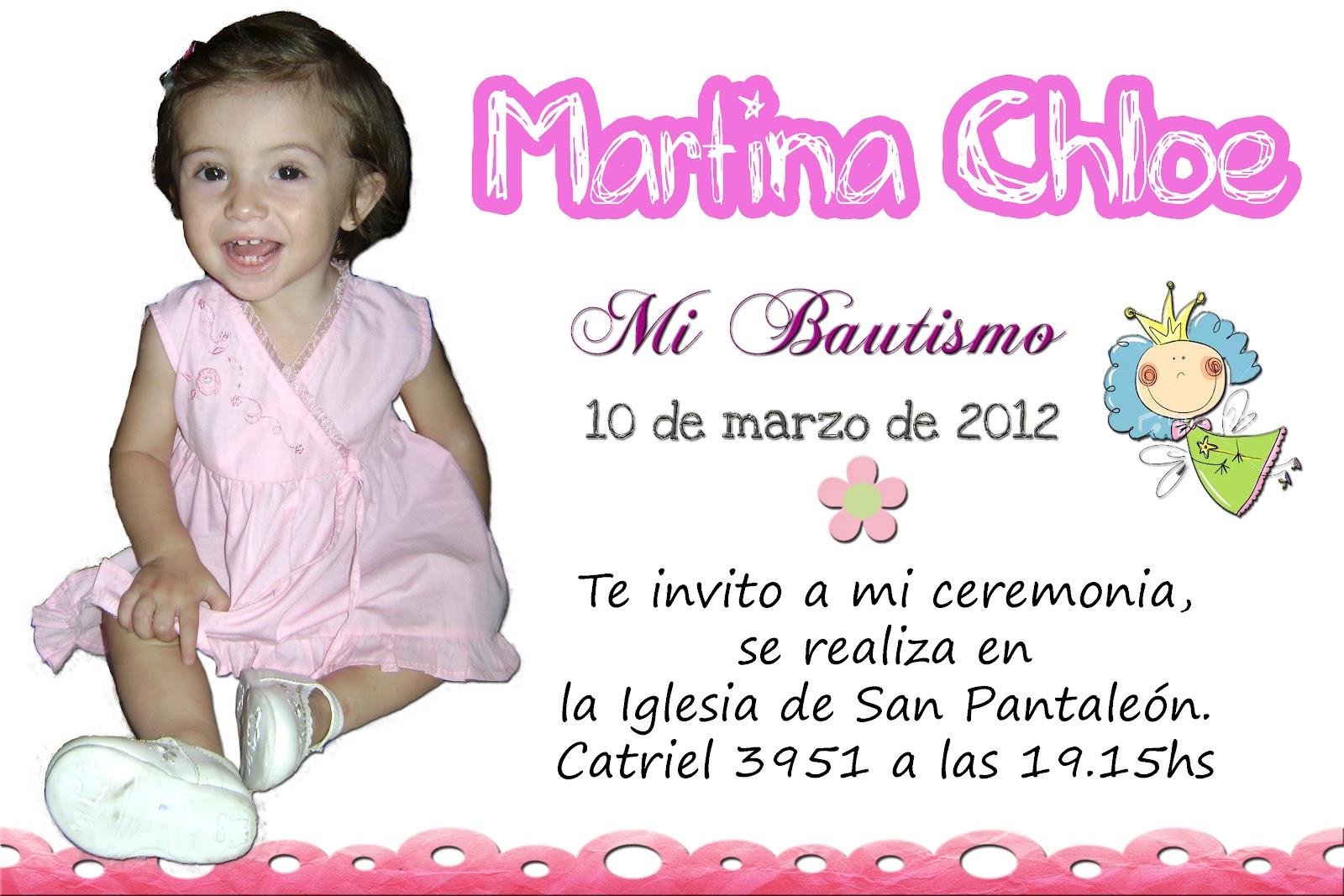 Creaciones Almita Tarjeta De Invitación Bautismo De Martina