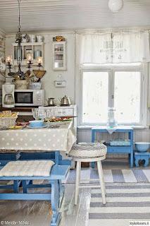 Ideias para decorar com um estilo rústico usando o azul.