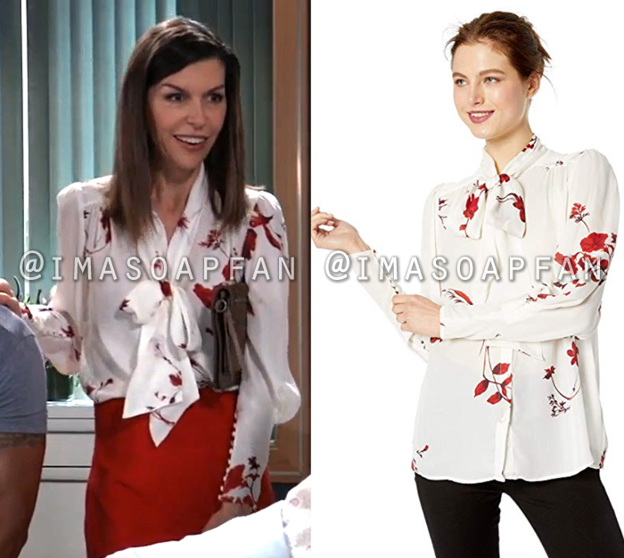 Anna Devane, Finola Hughes, White and Red Floral Blouse with Tie Neckline, General Hospital, GH
