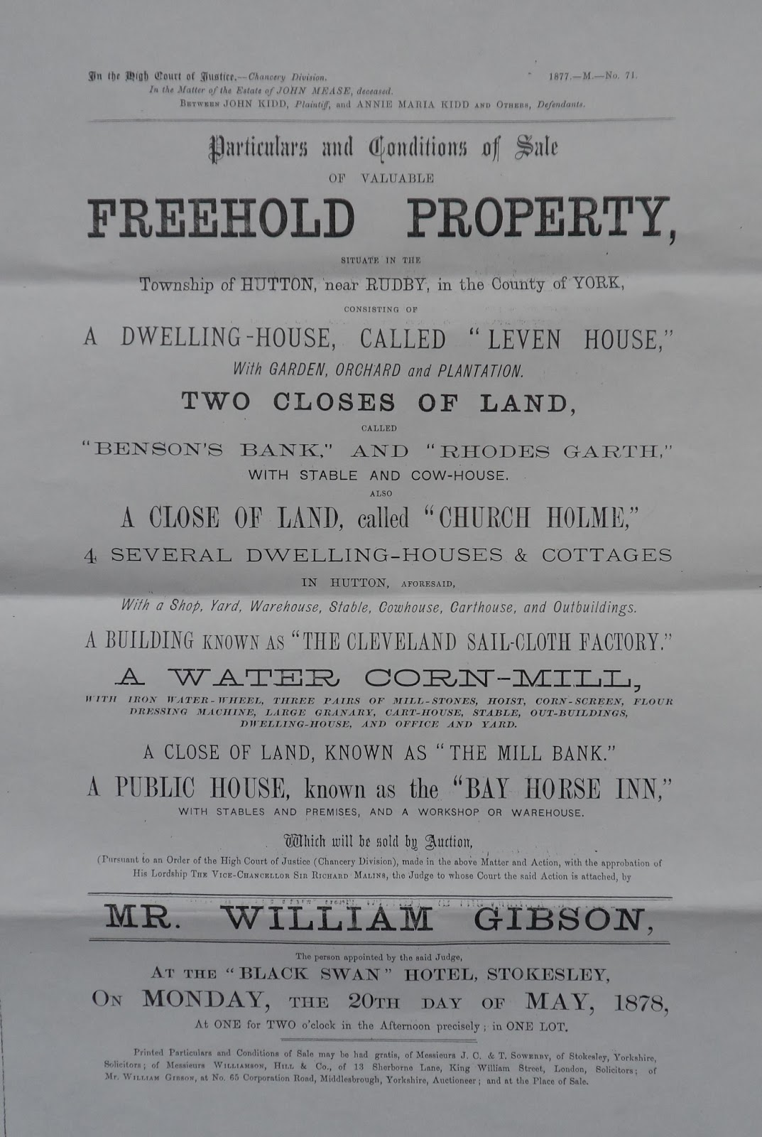 north yorkshire history particulars of sale of leven house and the