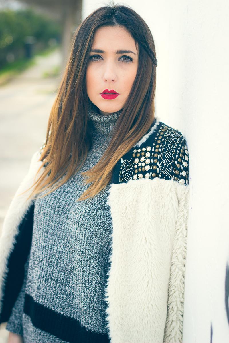 studed fur coat