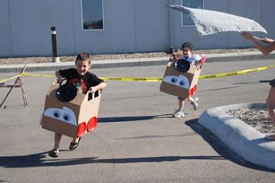 cardboard Lightning McQueen Cars race