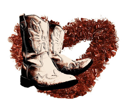 Worn cowboy boots over a tinfoil heart.