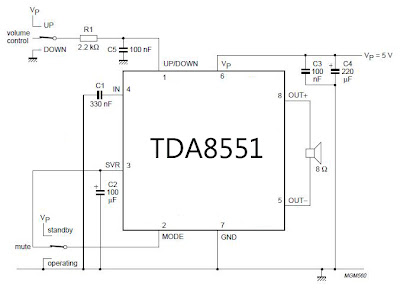 Mini amplifier with digital volume control circuit diagram