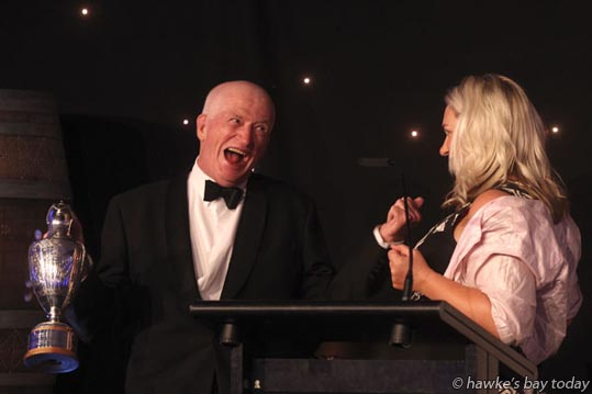 Left: Bob Newton, Newton Forrest Estate, winner of the Langley Twigg Law Provenance Award at the Hawke's Bay A&P Bayleys Wine Awards at the Hawke's Bay Showgrounds, Hastings. photograph