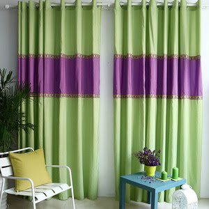 purple and green curtains striped design