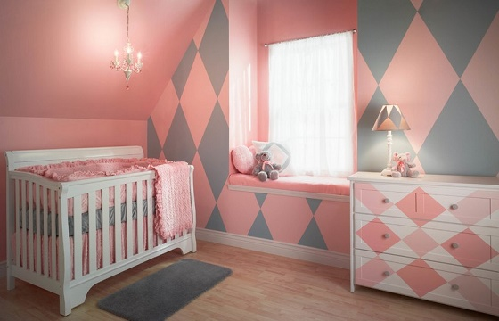Cuartos de beb en rosa y gris ideas para decorar dormitorios - Habitacion de nina bebe ...