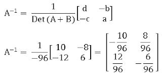 Menentukan invers penjumlahan 2 matriks