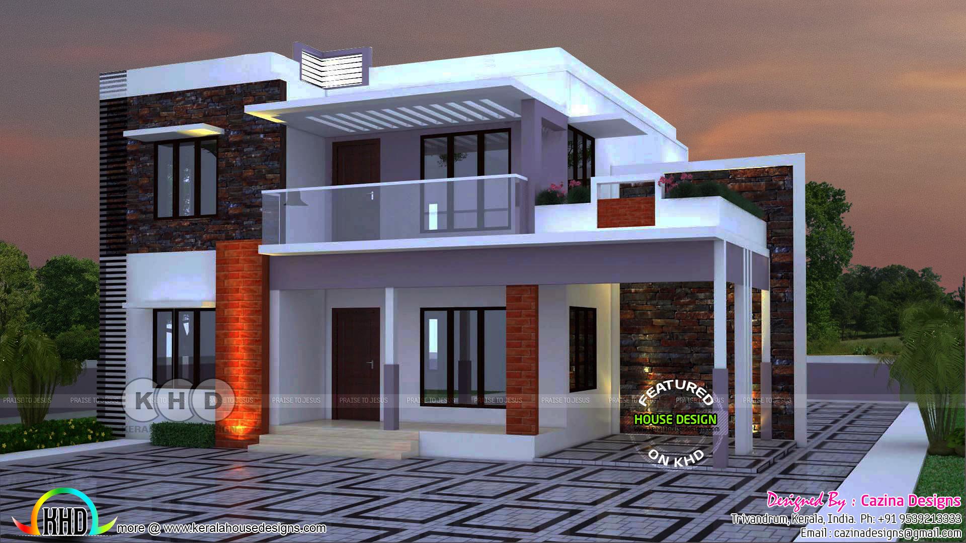 flat roof 2400 sq ft 4 bedroom home