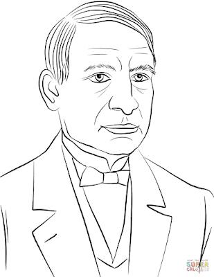 colorear retrato de Don Benito Juárez
