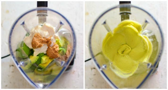 Cómo se hace el helado de aguacate y maní, se agregan los ingredientes  a la licuadora y luego se coloca en los moldes para congelar