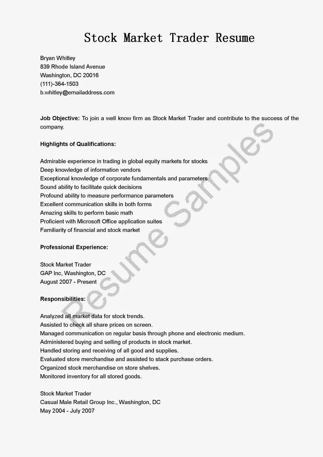 Forex Broker Cover Letter | Derivative Trader Cover Letter Resume ...