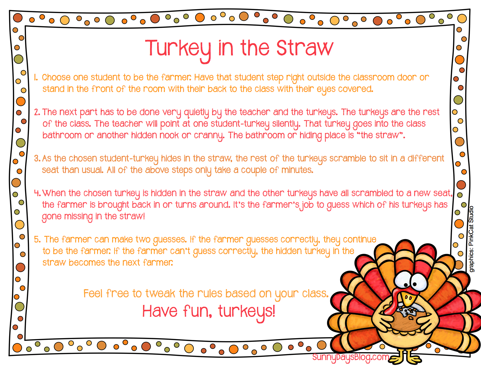 Turkey In The Straw A Game For Indoor Recess Or Brain