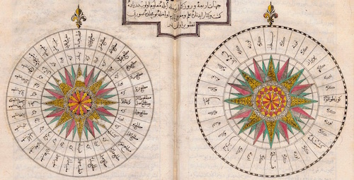 Compass roses from 18th century book by Katip Celebi