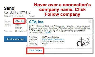 follow a LinkedIn connection's company, LinkedIn follow company,