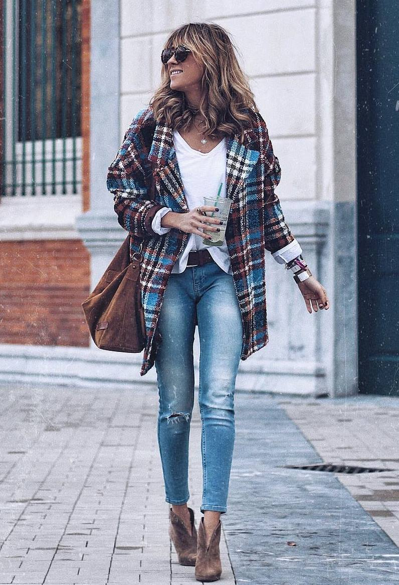 best spring outfit idea / plaid tweed coat + shirt + bag + jeans + ankle boots