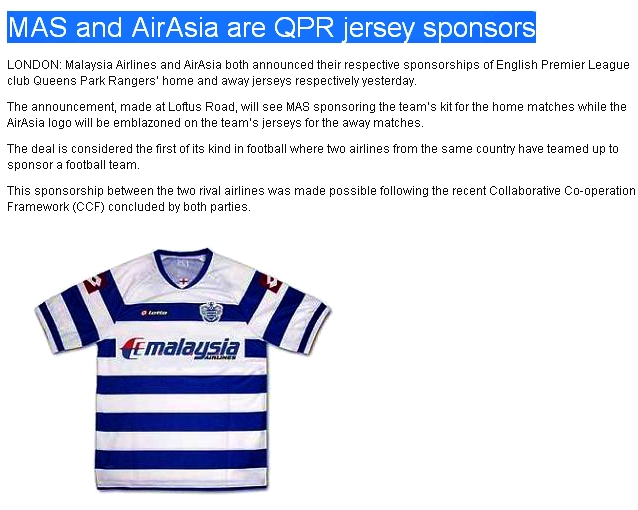 super popular 179f8 2d82d Queen's Park Rangers FC Malaysia Supporters: MAS, Air Asia ...