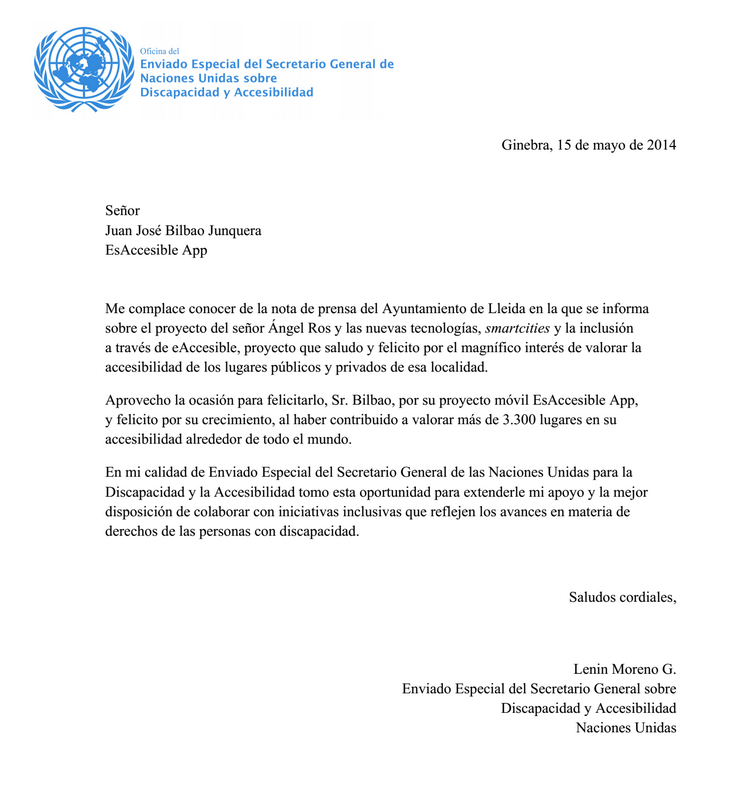 United Nations recognizement letter to Juanjo Bilbao @esaccesibleapp for his collaboration with #Lleida's City Council major @AngelRos @Paerialleida in the cities Accesibility rights