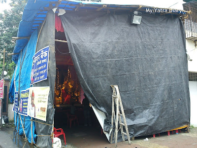 A Ganpati pandal in a housing society in Mumbai during Ganesh Chaturthi festival