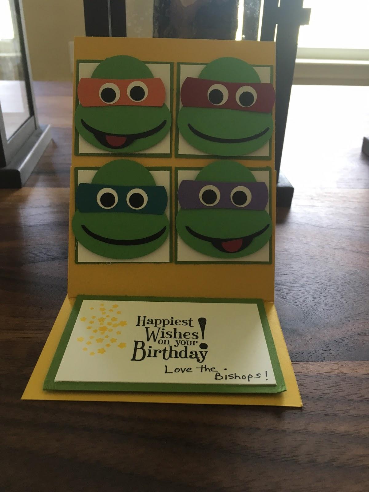 Craft Paper Scissors Ninja Turtle Birthday Card