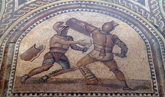 lukisan pertandingan gladiator murmillo