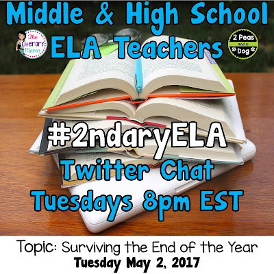 Join secondary English Language Arts teachers Tuesday evenings at 8 pm EST on Twitter. This week's chat will be about surviving the end of the year.