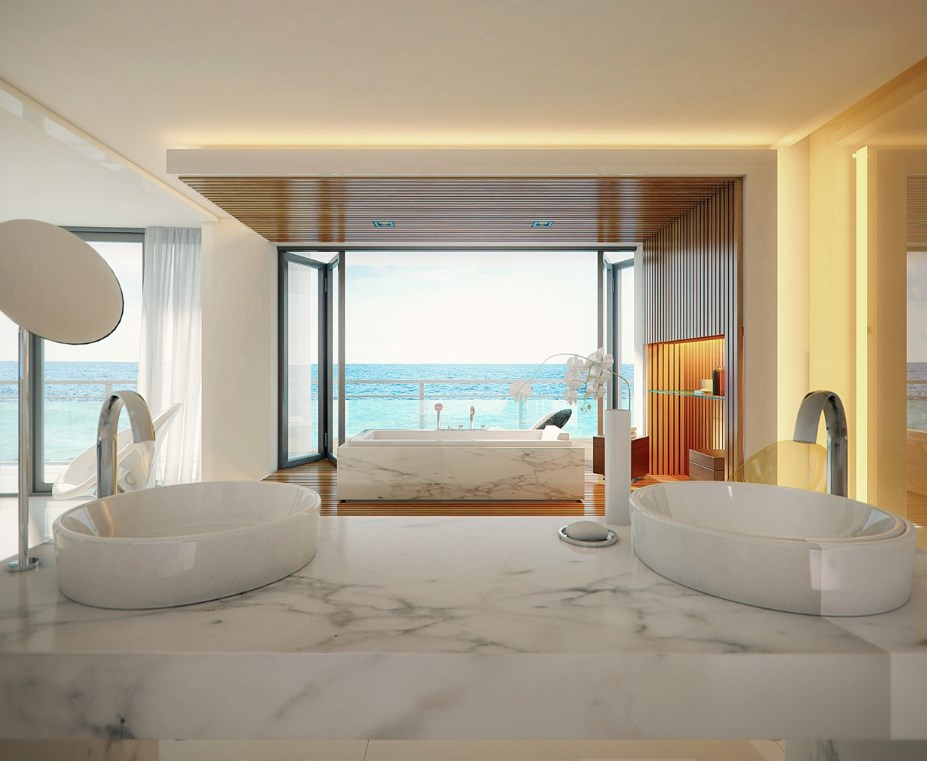 Wide windows with ocean views
