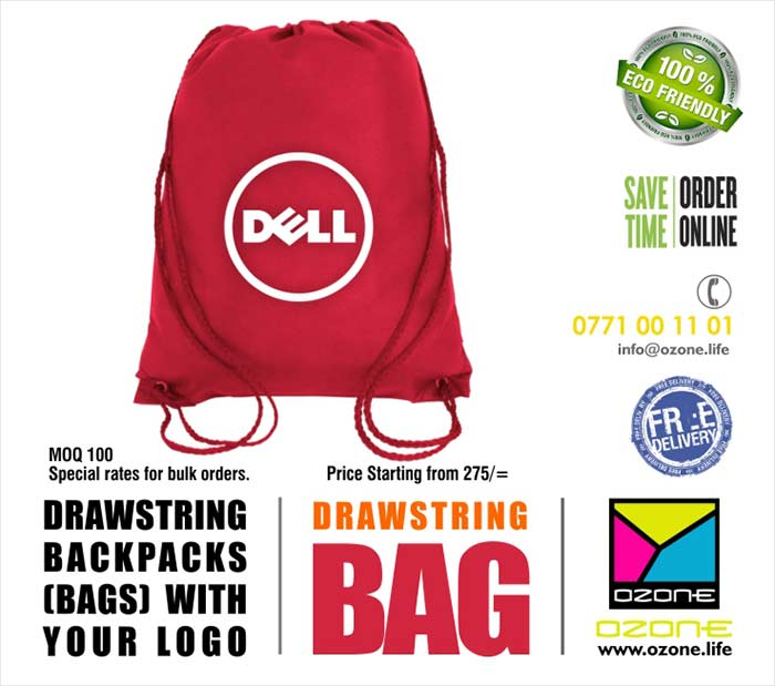 Draw String Back pack Bags.  Eco Life Print up to any spot color. Custom sizes and designs.  Minimum order quantity : 50 Delivery with in 21 days or on your request. Price starting from 275/=. Free delivery  Prices given for single color printed 200 bags. Please contact us for other quantities and urgent requirements.  -------------------------------------------------------------------------  #nonwovenbag #ecobag #promotionalbag #ozonebranding #corporategift #totebag