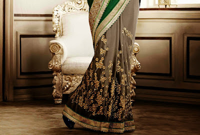 Latest Satin Sari Designs 2015