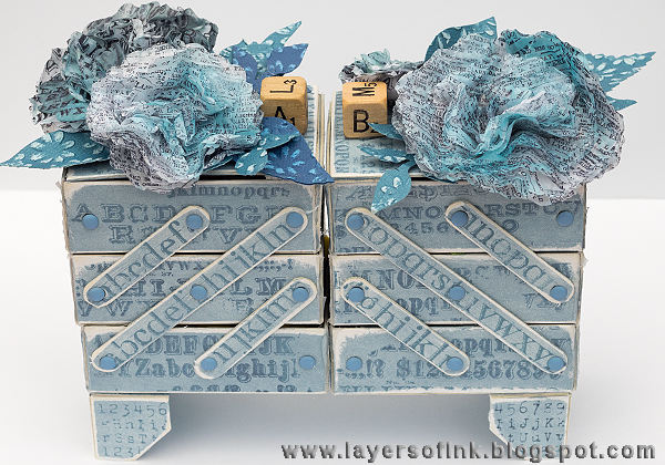 Layers of ink - Alphabet Sewing Box Tutorial by Anna-Karin, with Sizzix dies by Eileen Hull and Tim holtz stamps