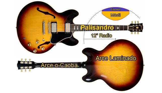 Radio de Diapasón y Maderas de una Guitarra de Estilo ES-335