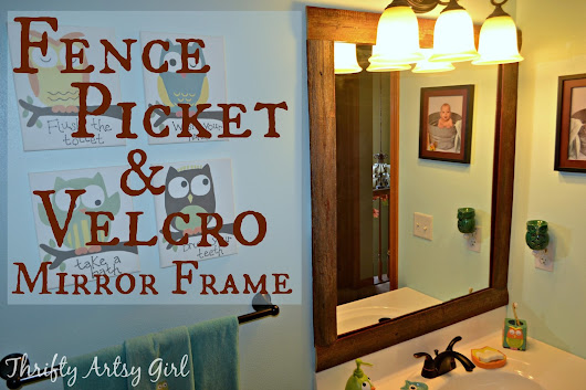 Mirror Mirror on the Wall: Easy DIY Reclaimed Wood Frame on a Builders Grade Mirror ~ Thrifty Artsy Girl