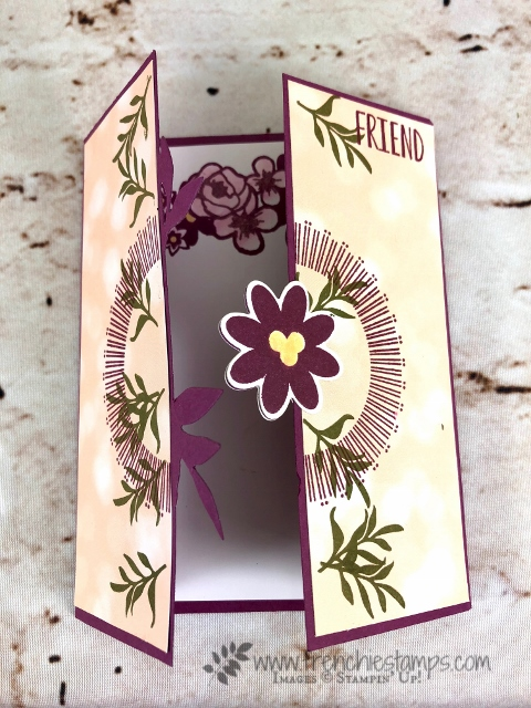 Bouquet Blooms, Gatefold Blossoms Framelits,Petal Promenade designer paper, Frenchie Stamps, Stampin'Up!,