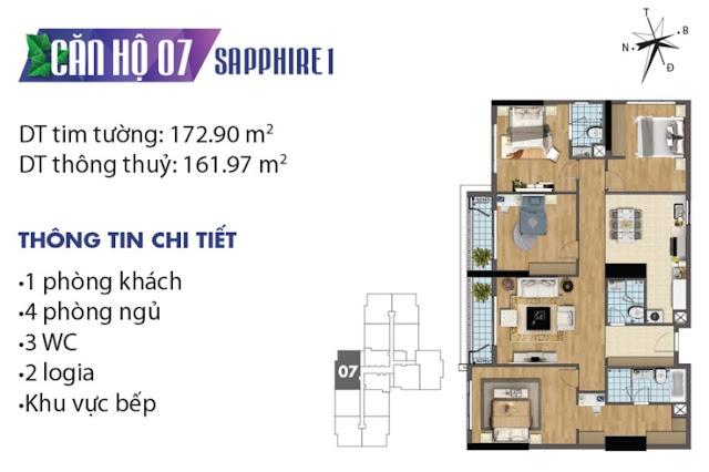 Thiết kế căn hộ số 7 tòa Sapphire 1