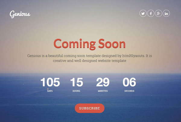 Best Free Coming Soon Page Website Template