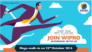 Wipro Mega Walkin for Software Engineers On 22nd Oct 2016