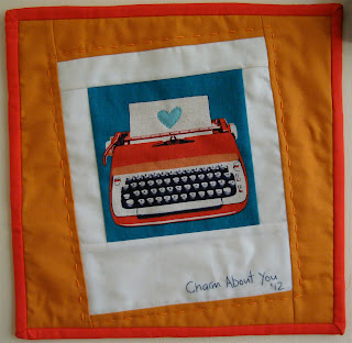 polaroid quilt block with fabric typewriter fussy cut photo