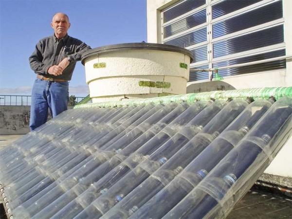 Agua caliente GRATIS. Cómo hacer un calentador solar con botellas de plástico (1/6)