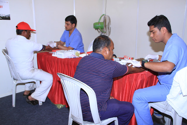 Drivers at the Toyota conducted training prgm and health checkup camp at Bangalore Airport