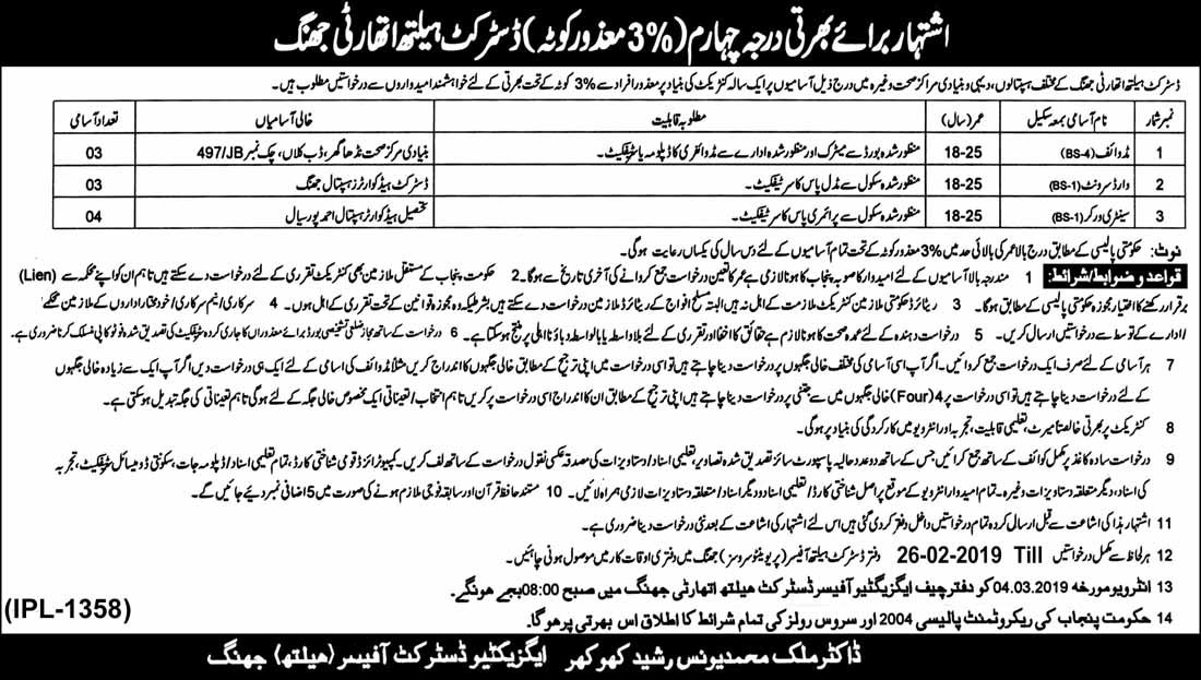 Mazoor Afrad (Disabled Persons) Darja Chaharam Jobs in Jhang 13 feb 2019