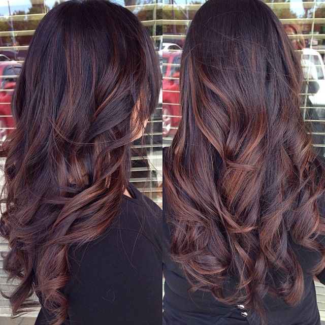 Pictures Of Dark Brown Hair With Burgundy Highlights Hairstyle