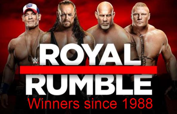 wwe, royal rumble, winners, champions, names, list, since 1988, 2017.