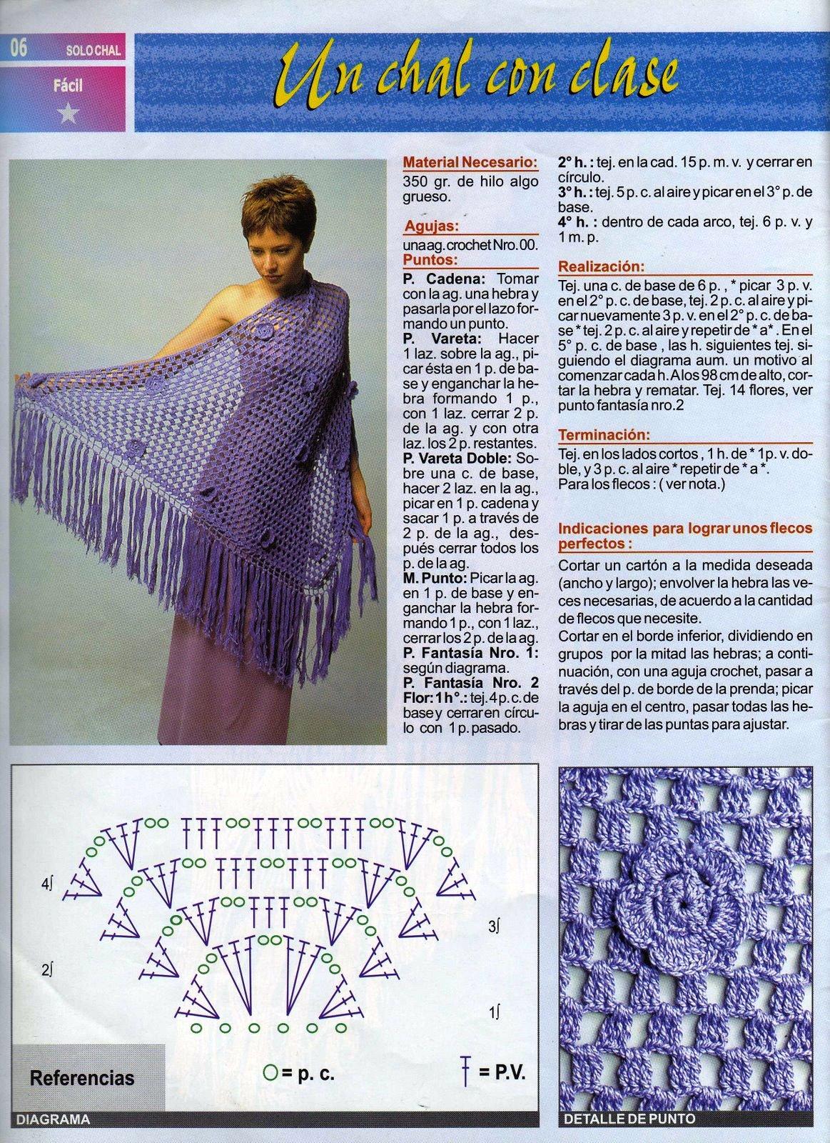 Patron Crochet Chal con Clase