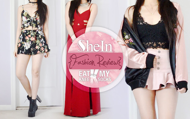 Summer break = more free time = more reviews, and today I'll be reviewing my latest clothing package from SheIn! Included in this review are a two-piece floral crop top and shorts set, a red cutout maxi dress, and a black-and-pink embroidered satin bomber jacket. - Eat My Knee Socks / Mimchikimchi