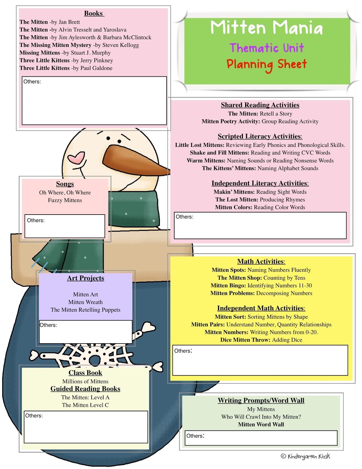 Kindergarten Kiosk Mitten Mania Thematic Common Core Curriculum