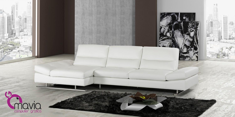Arredamento di interni divano moderno in pelle bianca for Divani bianchi moderni