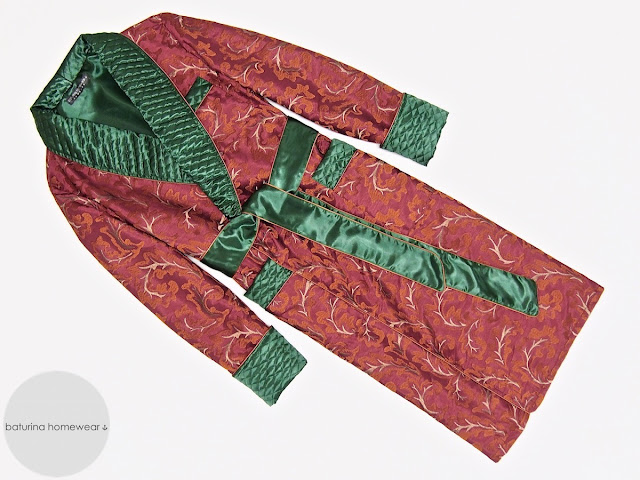 Mens red paisley silk dressing gown quilted warm long robe vintage smoking jacket