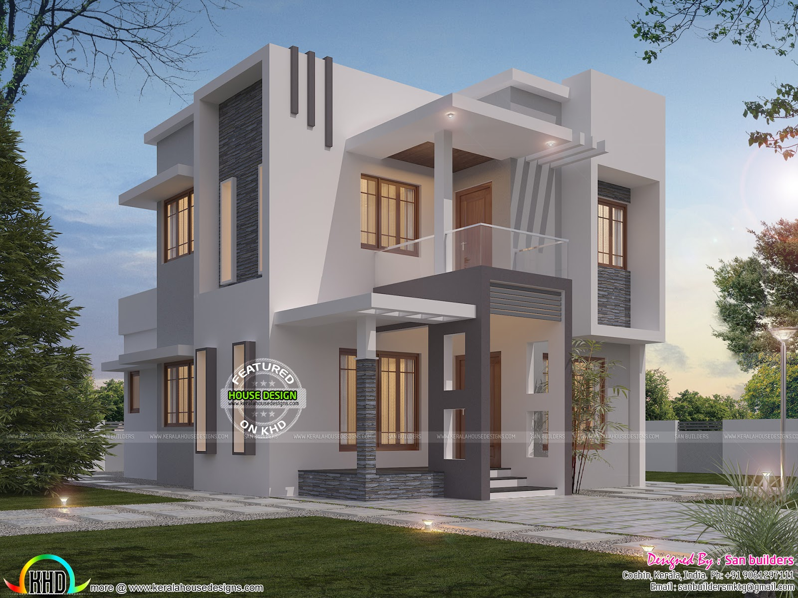 Contemporary style small double storied villa kerala for Small villa plans in kerala