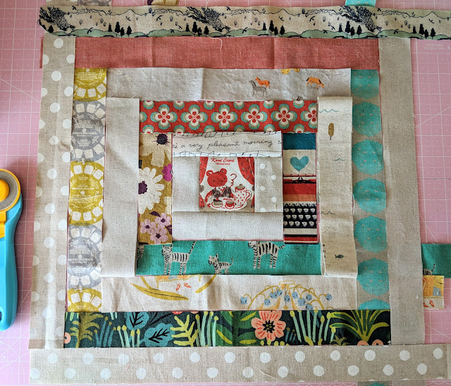 Linen and Canvas Log Cabin Quilt by Heidi Staples for Fabric Mutt