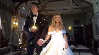 Sasha Pieterse ruffled, off-the-shoulder wedding dress (Christian Siriano) and husband Hudson Sheaffer